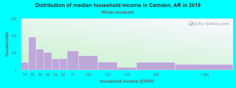 Camden household income for White non-Hispanic householders