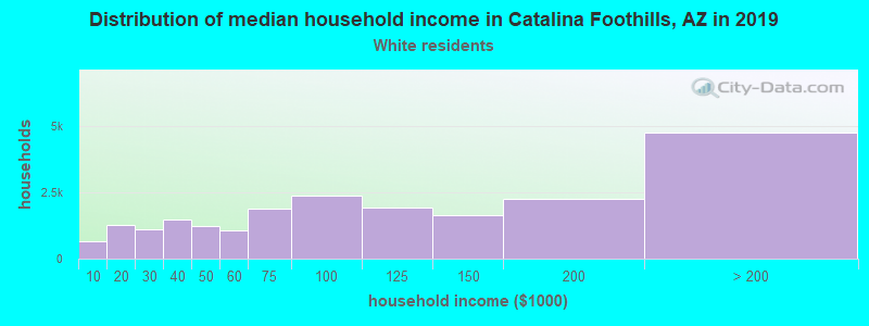 Catalina Foothills household income for White non-Hispanic householders