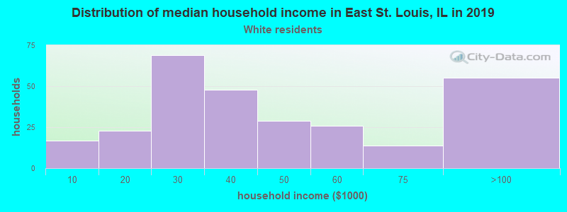 East St. Louis household income for White non-Hispanic householders