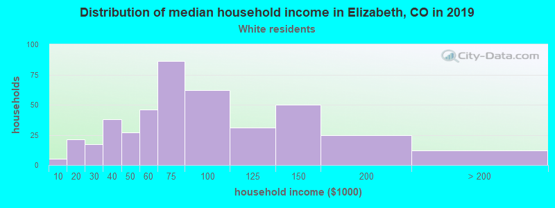 Elizabeth household income for White non-Hispanic householders