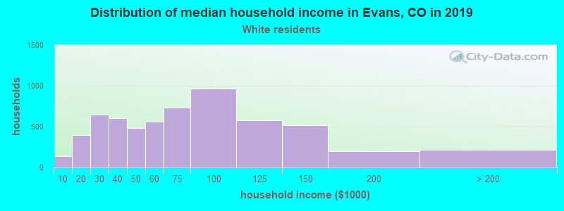 Evans household income for White non-Hispanic householders
