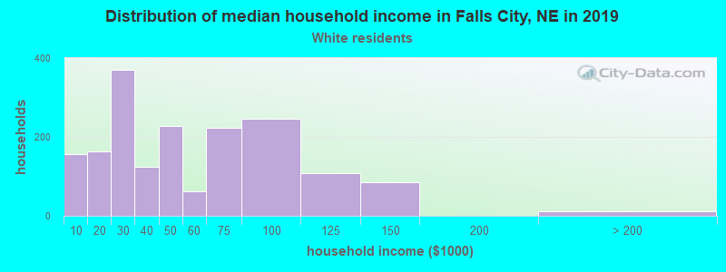 Falls City household income for White non-Hispanic householders