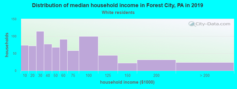 Forest City household income for White non-Hispanic householders