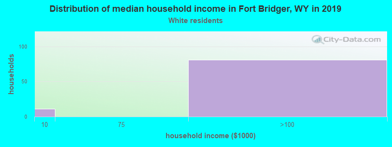Fort Bridger household income for White non-Hispanic householders