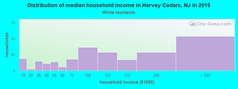 Harvey Cedars household income for White non-Hispanic householders