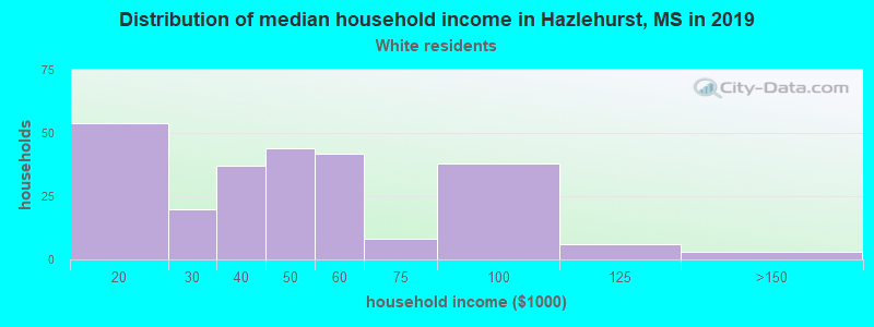 Hazlehurst household income for White non-Hispanic householders