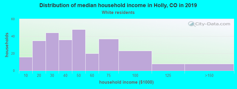 Holly household income for White non-Hispanic householders