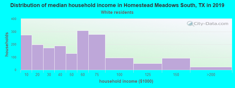 Homestead Meadows South household income for White non-Hispanic householders