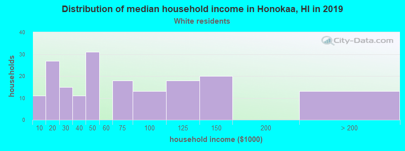 Honokaa household income for White non-Hispanic householders