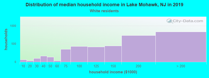 Lake Mohawk household income for White non-Hispanic householders