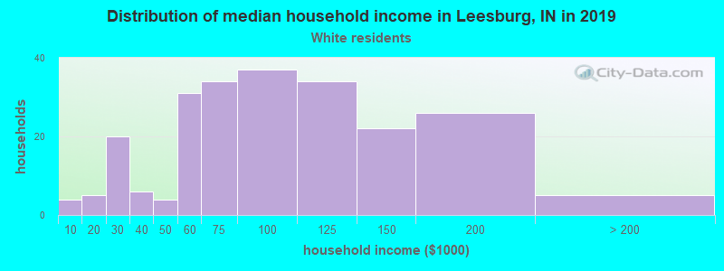 Leesburg household income for White non-Hispanic householders
