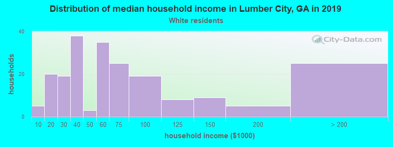 Lumber City household income for White non-Hispanic householders
