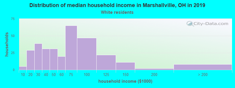 Marshallville household income for White non-Hispanic householders