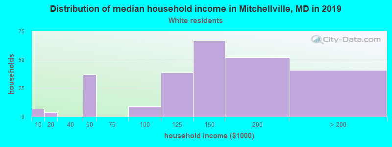 Mitchellville household income for White non-Hispanic householders