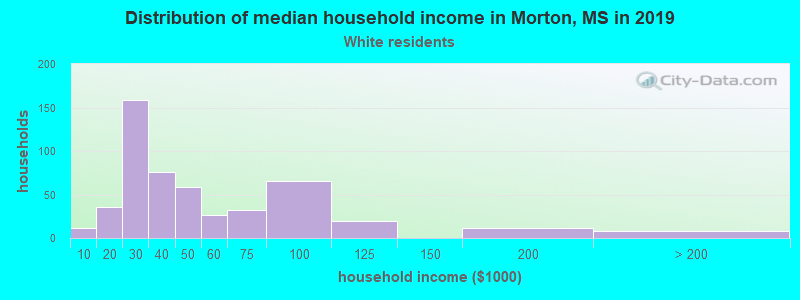 Morton household income for White non-Hispanic householders
