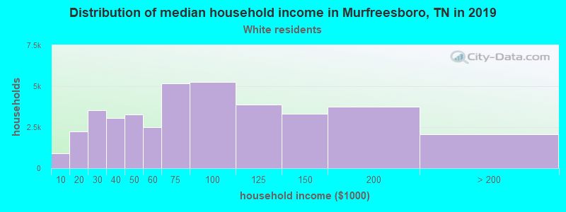 Murfreesboro household income for White non-Hispanic householders