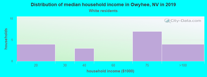 Owyhee household income for White non-Hispanic householders