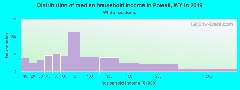 Powell household income for White non-Hispanic householders