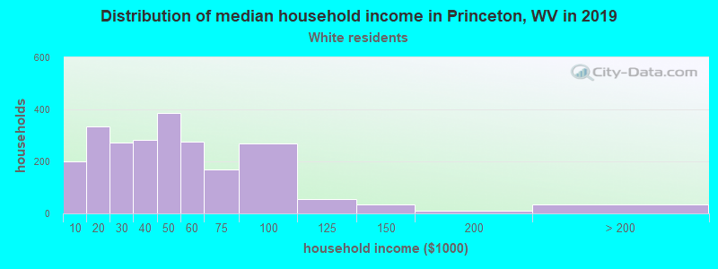 Princeton household income for White non-Hispanic householders