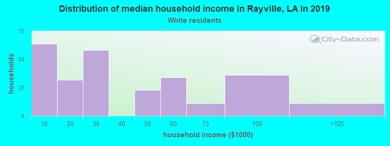 Rayville household income for White non-Hispanic householders