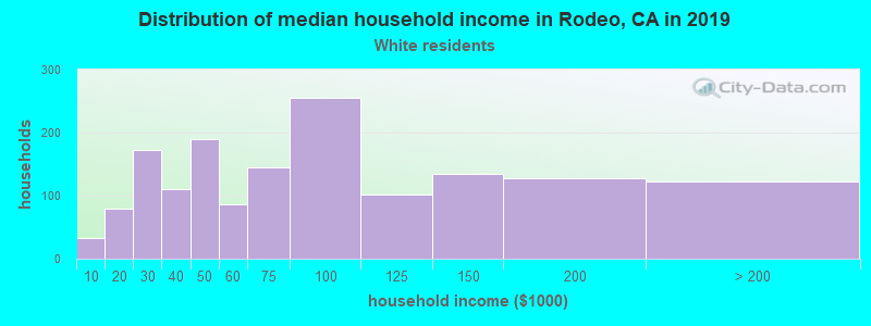 Rodeo household income for White non-Hispanic householders