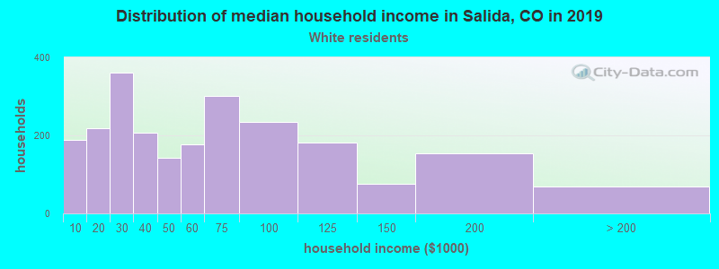 Salida household income for White non-Hispanic householders