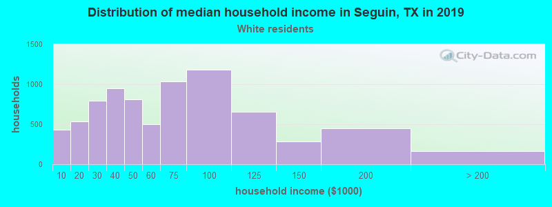 Seguin household income for White non-Hispanic householders