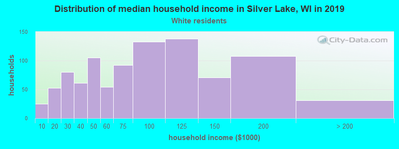 Silver Lake household income for White non-Hispanic householders
