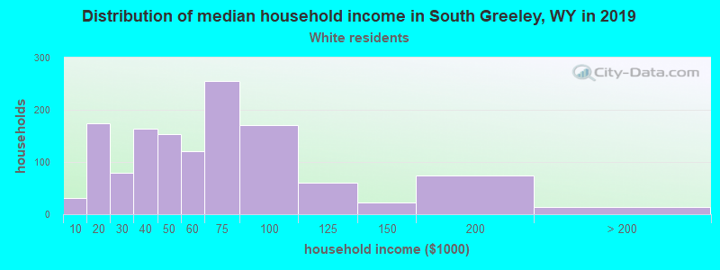 South Greeley household income for White non-Hispanic householders