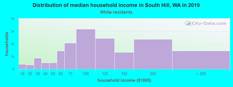 South Hill household income for White non-Hispanic householders