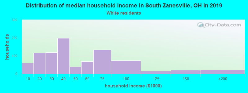 South Zanesville household income for White non-Hispanic householders