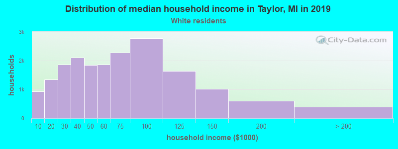 Taylor household income for White non-Hispanic householders