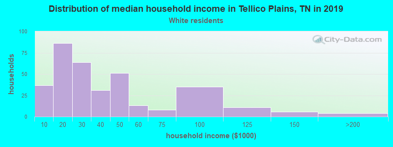 Tellico Plains household income for White non-Hispanic householders