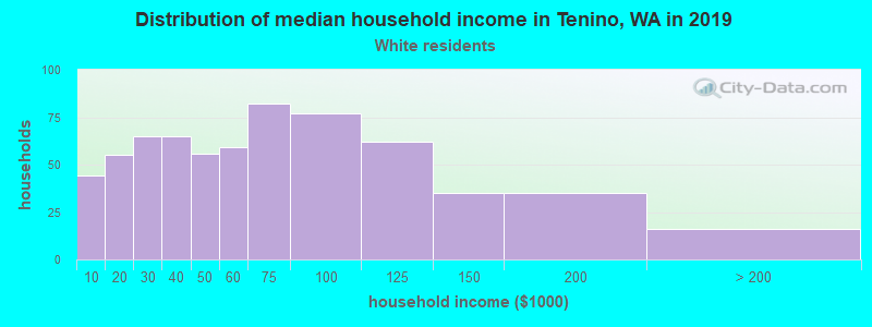 Tenino household income for White non-Hispanic householders