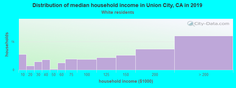 Union City household income for White non-Hispanic householders