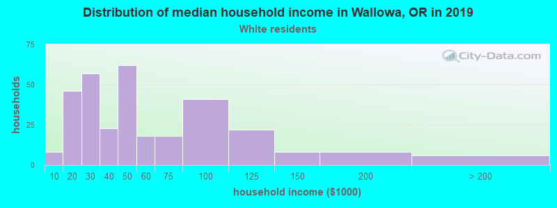 Wallowa household income for White non-Hispanic householders