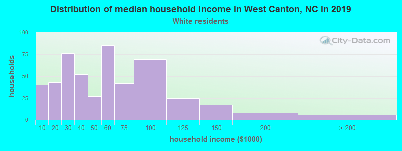 West Canton household income for White non-Hispanic householders