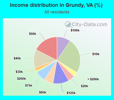 Income distribution in Grundy (%)