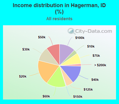 Income distribution in Hagerman (%)