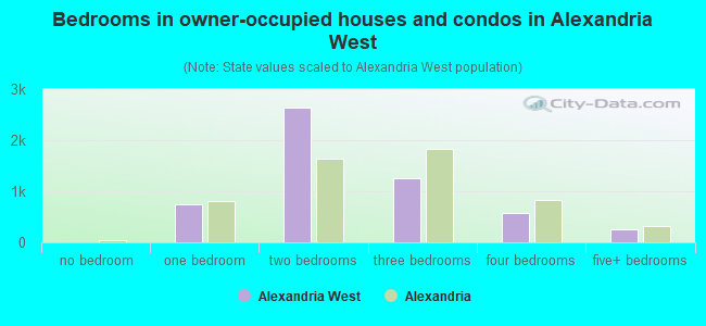 Bedrooms in owner-occupied houses and condos in Alexandria West