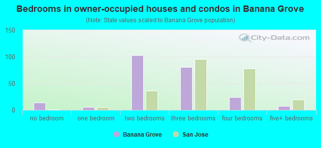 Bedrooms in owner-occupied houses and condos in Banana Grove