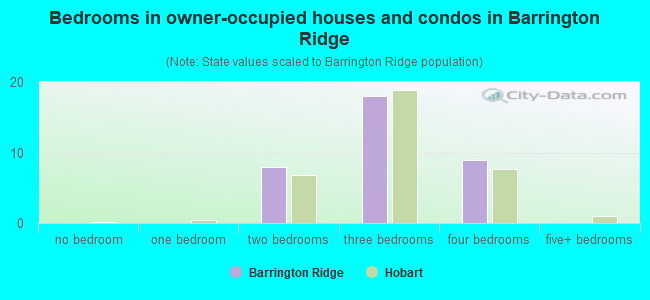 Bedrooms in owner-occupied houses and condos in Barrington Ridge