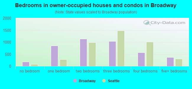 Bedrooms in owner-occupied houses and condos in Broadway