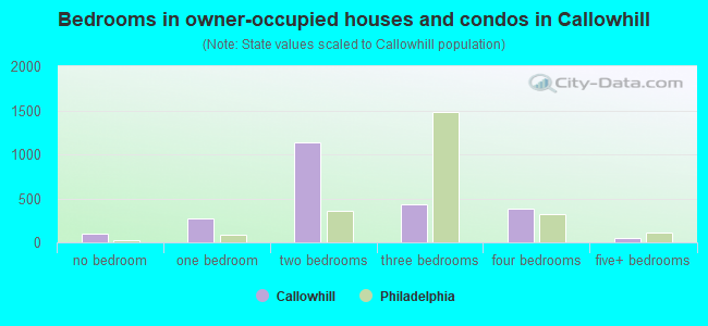 Bedrooms in owner-occupied houses and condos in Callowhill