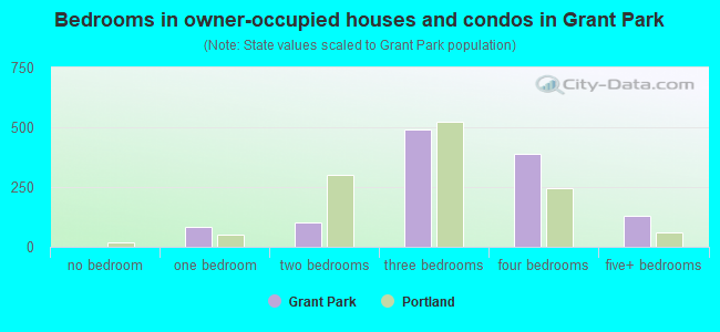 Bedrooms in owner-occupied houses and condos in Grant Park