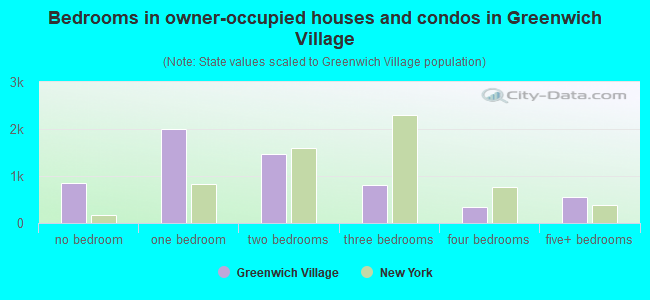 Bedrooms in owner-occupied houses and condos in Greenwich Village