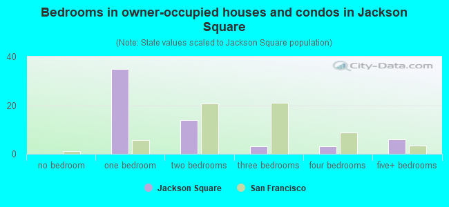 Bedrooms in owner-occupied houses and condos in Jackson Square