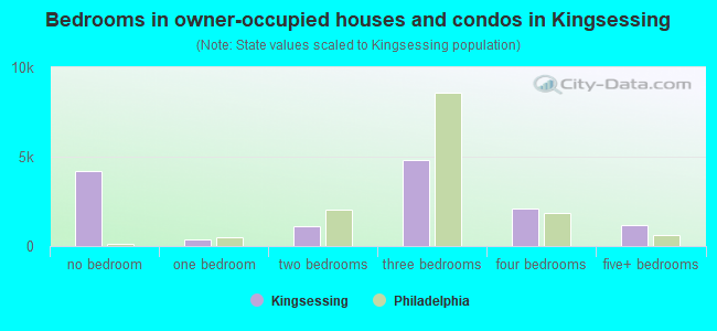 Bedrooms in owner-occupied houses and condos in Kingsessing