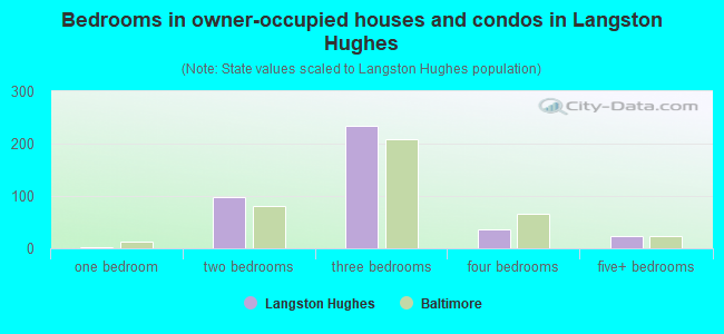 Bedrooms in owner-occupied houses and condos in Langston Hughes