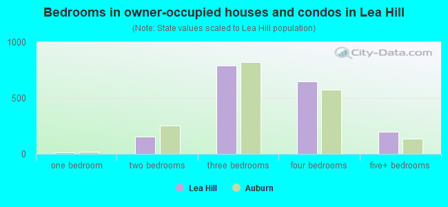 Bedrooms in owner-occupied houses and condos in Lea Hill